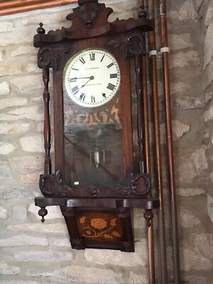 19c Antique American 8 Day Wall Clock Marquetry Inlaid Case G C Hardwick Burton