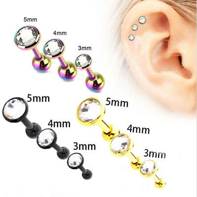 Lot de 3 Oreille Cartilage Crystal Helix Stud Barbell Boucle d'oreille Piercing