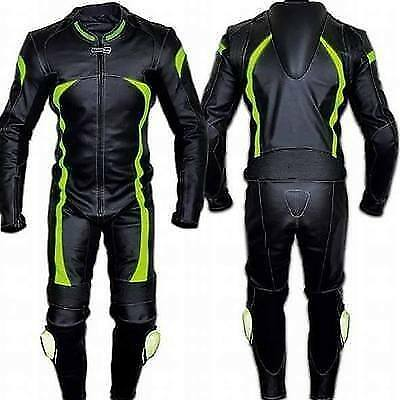 MEN'S MOTORBIKE COWHIDE LEATHER SUIT MOTORCYCLE SUIT JACKET TROUSER 1 or 2-PIECE