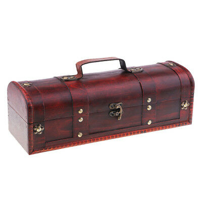 Antique Old Style Red Wine Gift Box Retro Wine Storage Gift Case with Lock