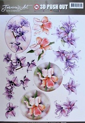 A4 DIE CUT 3D PAPER TOLE DECOUPAGE Push Out Sheet Flowers Orchids