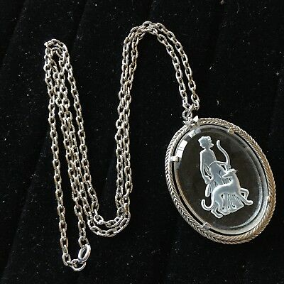 Diana the Huntress and Greyhound Avon Glass Pendant Necklace L1