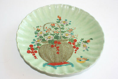 Old Oriental Chinese Porcelain Hand Painted Flower Green Plate