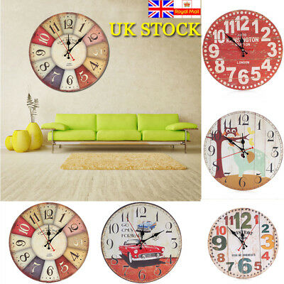 30CM Diameter Wooden Wall Clock Modern Style Living Room Home Office Cafe Decor
