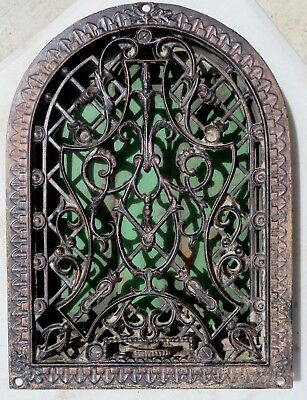 Antique Aesthetic Victorian Cast Iron heat Grate Register Very Ornate Arch Top