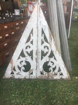 "c1880 antique Victorian gingerbread gable pediment scroll detail 53"" x 50"""