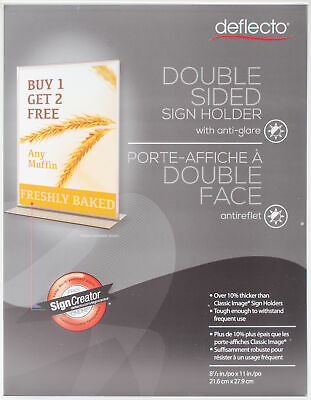 "Anti-Glare Acrylic Sign Holder 8.5""X11""-Stand-Up Clear Matte - 2 Pack"
