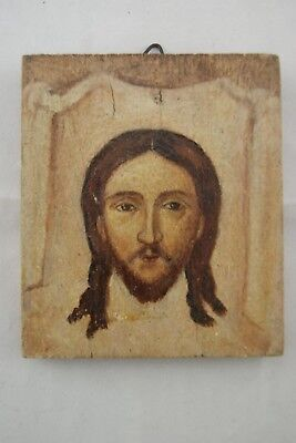 † JESUS CHRIST HOLY FACE HAND PAINTING WOOD PANEL ICON VEIL of VERONICA FRANCE †