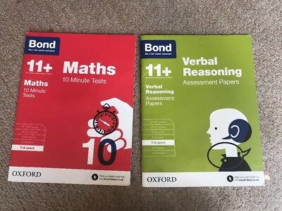 2 Bond 11+ Maths & Verbal Reasoning Books Tests & Papers 7 -8 Years Gd Cond