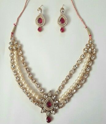 Indian Gold Red White Pearl Polki Jewellery set Necklace Earring
