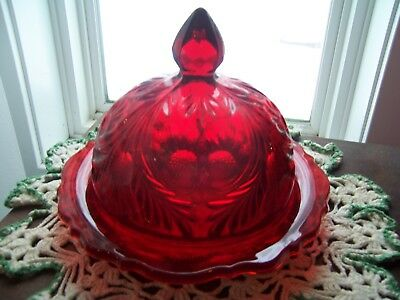 Butter Dish Covered Ruby Red Mosser Inverted Thistle Cambridge Ohio Xlnt
