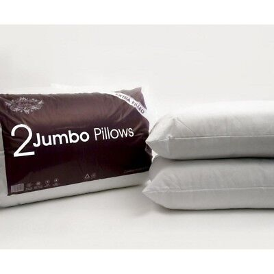 Pack of 1 2 4 & 6 Jumbo Bed Pillows Extra Filled Soft Quilted Hotel High Quality