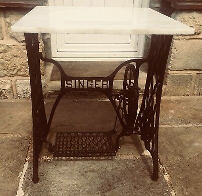 Antique Cast Iron Singer Sewing Machine Table With Modern Added White Marble Top