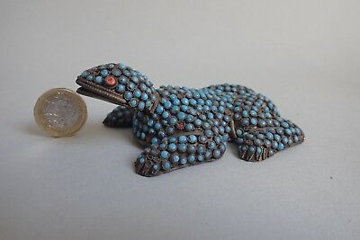 Antique Asian, Chinese, Tibetan Turquoise Coral and Filigree Gilt Metal Toad E20
