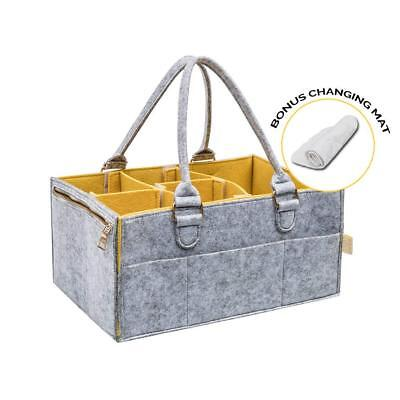 Portable Baby Diaper Caddy : Changing Table Organizer with Spacious Pockets and