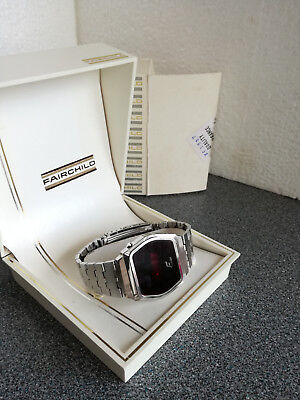 Vintage Fairchild  silver tone LED Mens Watch,  Boxed.