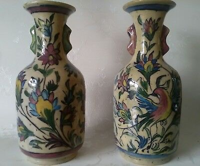 Pair Of 19Th Century Qajar Persian  Pottery  Vases  Antique 24Cms