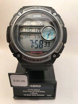 Casio Men's Illuminator Digital 100m 10-Yr Bat Black Resin Watch AE3000W-1A-HD