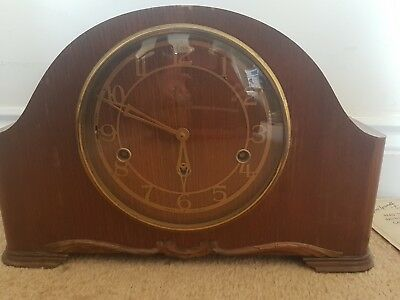 VINTAGE BEAUTIFUL OAK SMITHS ENFIELD WESTMINSTER CHIME CLOCK  key & instructions