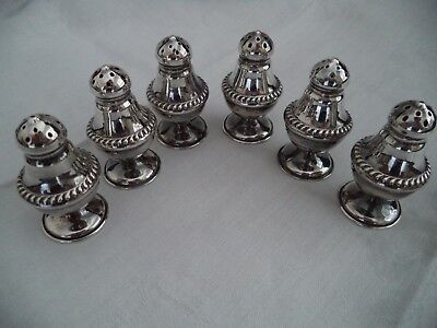 Sterling silver individual salt pepper shakers 2 inches high 6 in gift box