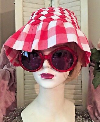 Vtg 60's Smocked Sun Hat Bucket Hat Red & White Checked W/button Rare Handmade