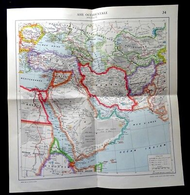 Antique-map,West Asia Politics, Printed 1923.