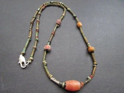 NILE  Ancient Egyptian Stone Amulet Mummy Bead Necklace ca 600 BC