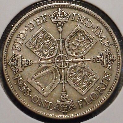British Florin - 1933 - King George V - $1 Unlimited Shipping