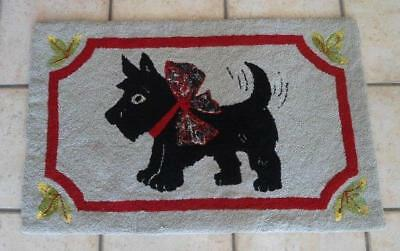 Vintage Hand Hooked Wool Scatter Area Rug Scottie Dog Red Border 2x3