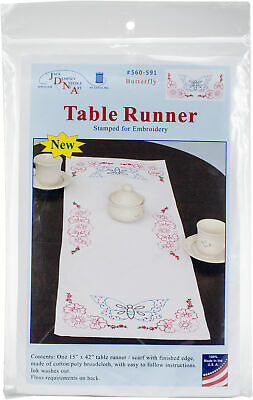 """Jack Dempsey Stamped Table Runner/Scarf 15""""X42""""-Butterfly - 2 Pack"""
