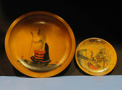 Vintage Norwegian Hand Painted Antique Wooden Plates