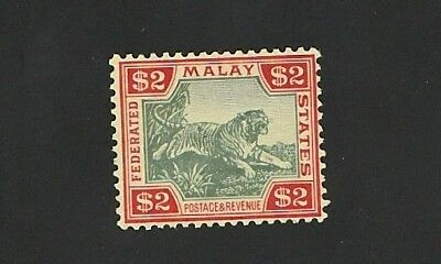 Malaya Federated Kgv 1925 Sg79 Tiger  Fine Mint Vlh. $2 Green/red/yell  Malaysia