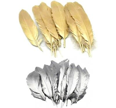 Beautiful Large Gold Goose Feathers Arts Crafts Hat Costume Wedding 6''-9'' UK