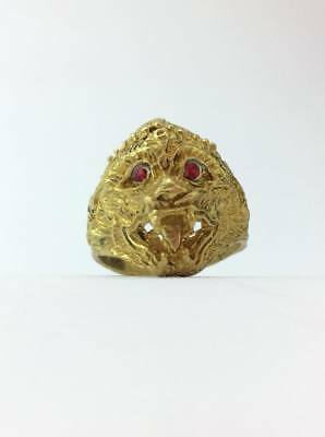 Amulets Tiger Red Eye Brass Ring For Power Protect Lucky and Wealth RARE size 8