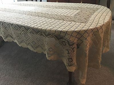 "Antique Darn Netting, Lace Tablecloth 63 x 132"" Ecru Linen Thread"