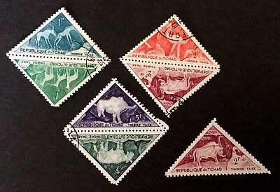 7 top old triangle stamps  / Tchad