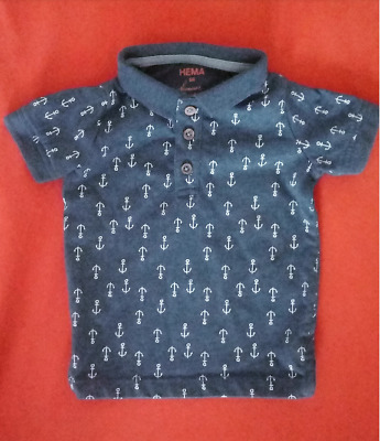 Baby Polo Shirt Sailor Anchor Grey Blue Size 68 Infant Tee Unisex T-Shirt