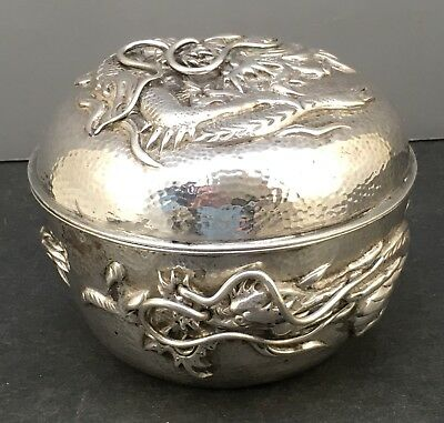Japanese Meiji Sterling Silver Box w/ Dragons