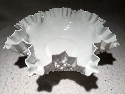 Vintage White Milk Glass Hobnail Scallopped Centerpiece Bowl