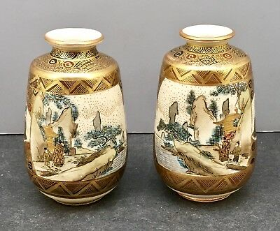 Pair Of Japanese Meiji Satsuma Vases with Various Decorations, Signed