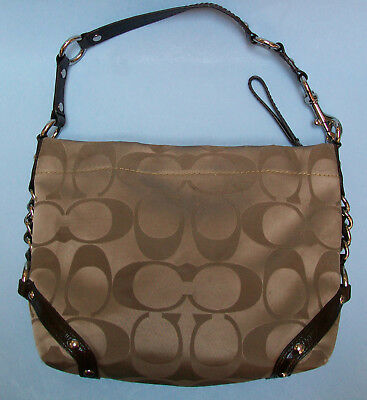 c2ad4ef90b88 Coach 24CM Signature Sateen Hobo Carly Bag Shoulder Bag Handbags F15250  Khaki