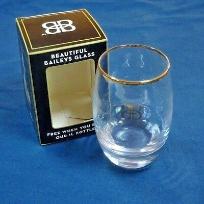Baileys glass, gold rimmed with baileys monogram. Boxed new