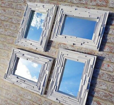 Unique Rustic Upcycled Solid Split Wood Framed Mirror White Satin