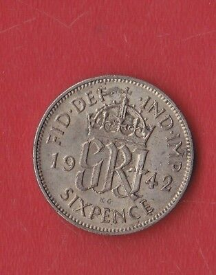 Great Britain 6 Pence 1942 Silver