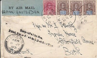 SARAWAK - Airmail Cover, Despatched by Sea Plane, Sent from Miri to UK in 1931