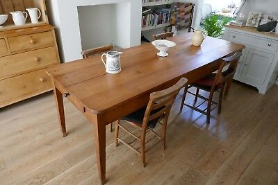 19th Century Antique Cherry Wood Farmhouse French Dining / Kitchen Table 225cm