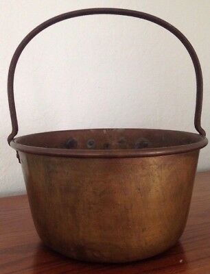 "Large Vintage Brass Cauldron Cooking Pot Tub Planter VTG Bucket Handle 10.5"" W"