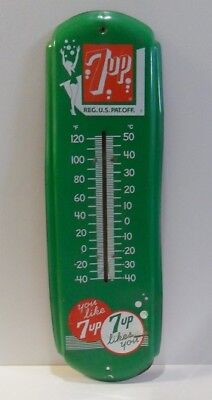 Vintage 7-Up Thermometer   Rare Green   No Glass