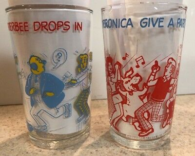 1973 Welch's Archie Comics Veronica Betty Party & Mr Weatherbee glass jelly jar