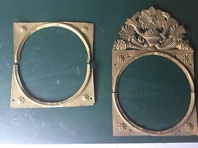 2 Antique Brass Clock Face Surrounds